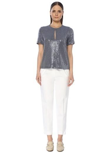 NetWork Kadın 1073369 Yaka Detaylı Payetli Bluz Mavi